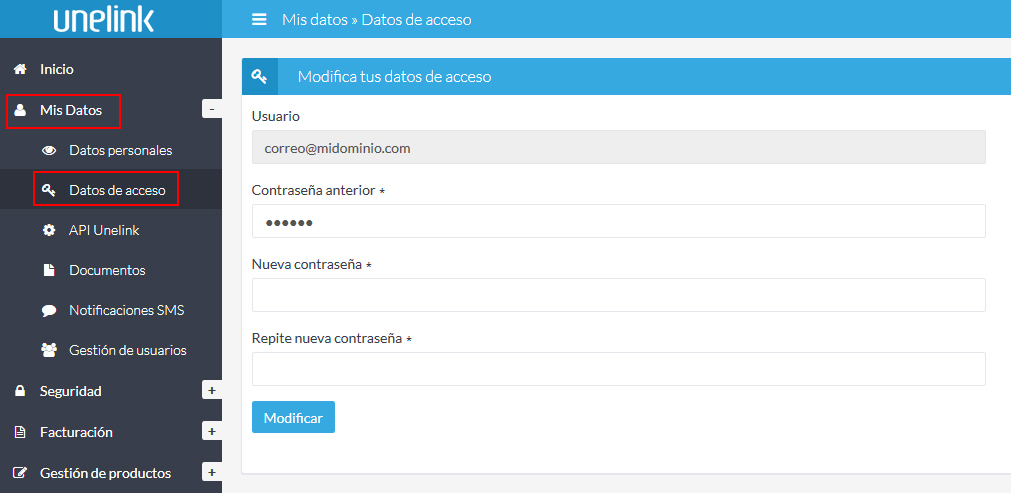 Modifica tus datos de acceso