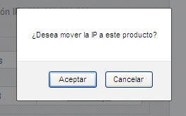 Confirmación mover IP