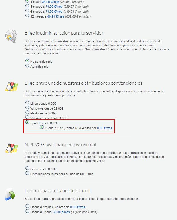 cPanel en servidores dedicados