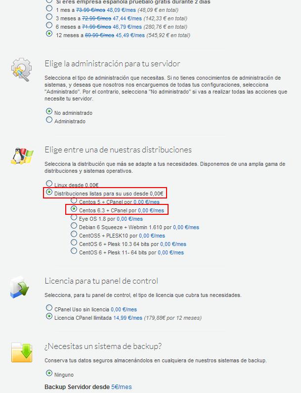 Selección CentOS + cPanel