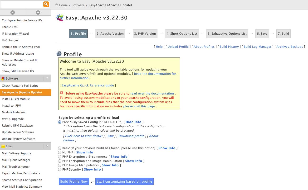 easyApache - Paso 1