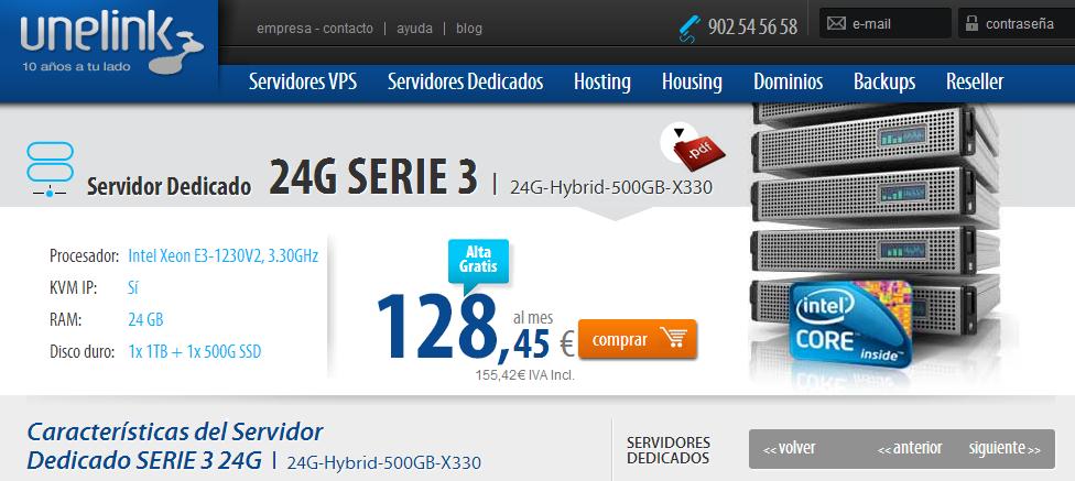 Servidor dedicado 24G-Hybrid-500GB-X330