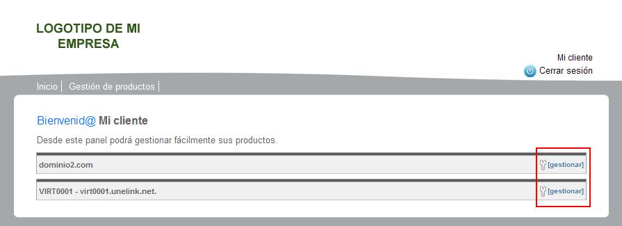 Listado de productos de cliente