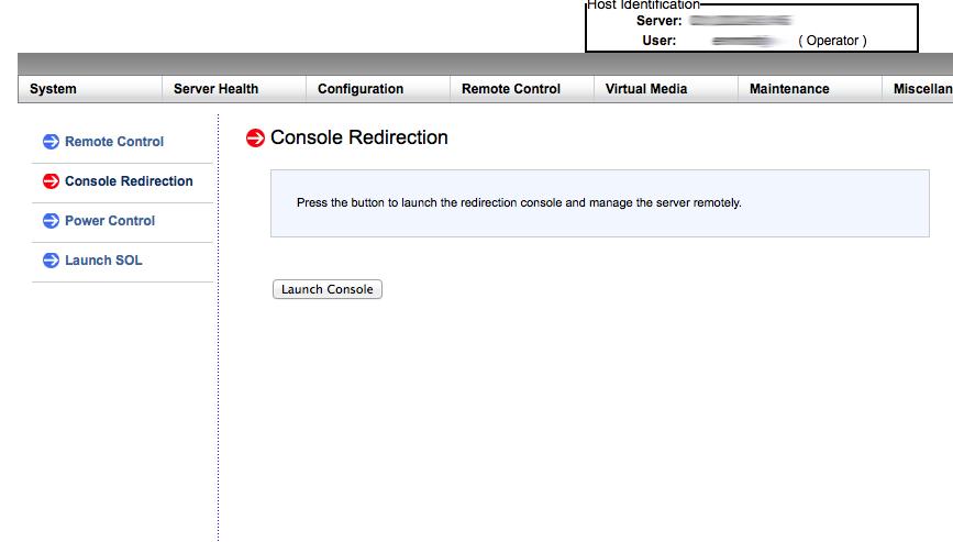 Remote Control -> Console Redirection