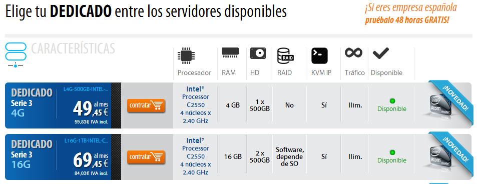 Servidores L4G-500GB-INTEL-C2550 y L16G-1TB-INTEL-C2550