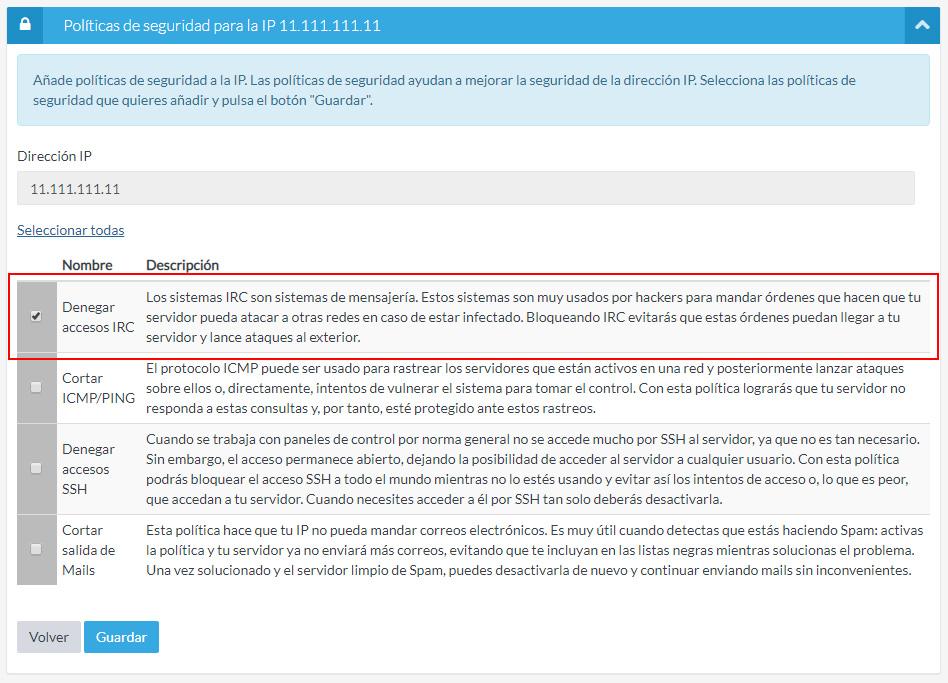 Denegar accesos IRC