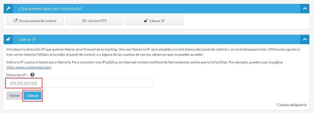 Indicar IP a liberar