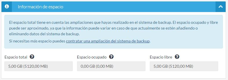 Sistema de backup activado
