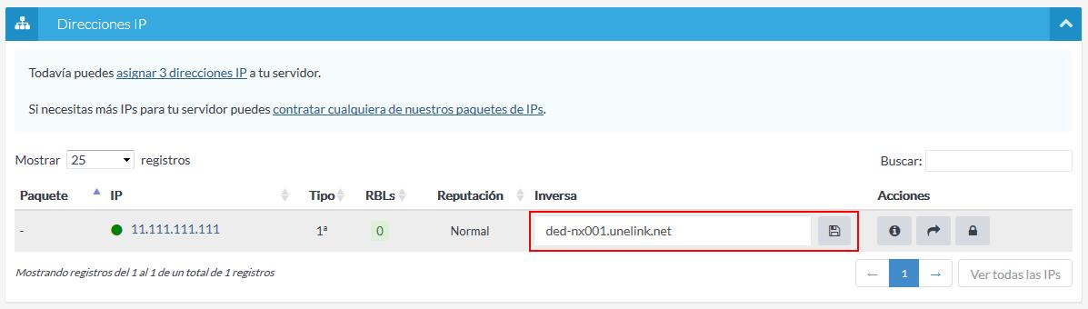 Cambiar inversa IP