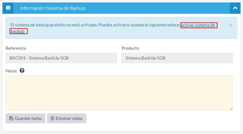 Información sistema de backup