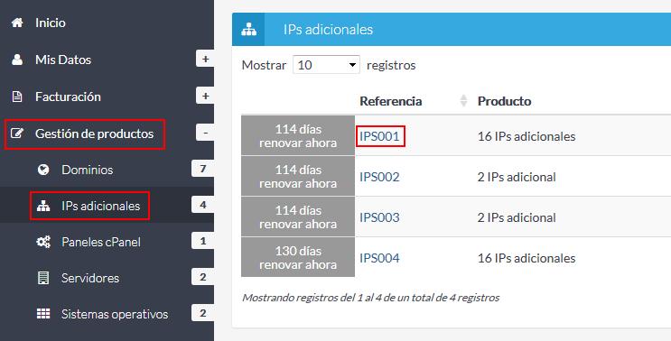 Listado IPs adicionales