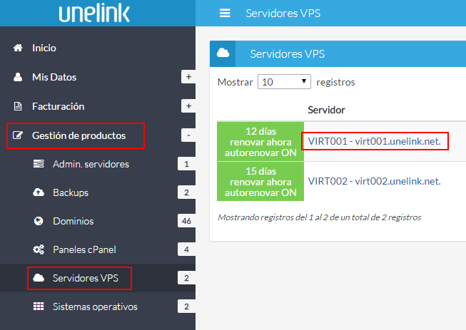 Listado de servidores VPS