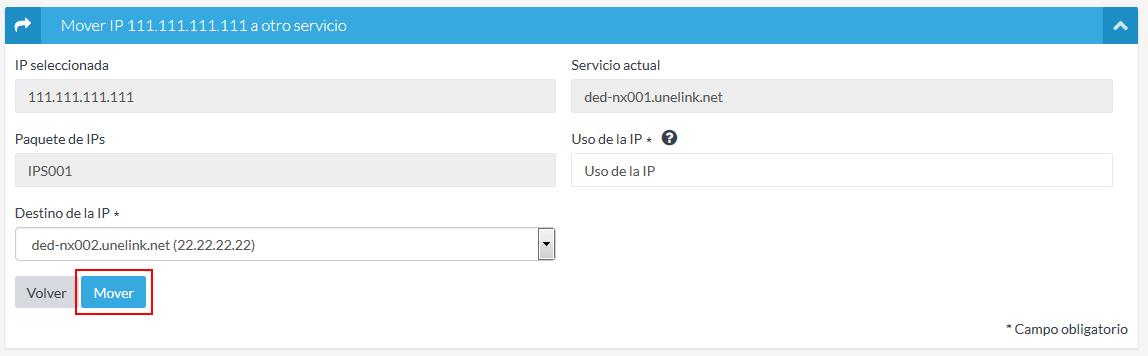 Selección destino IP