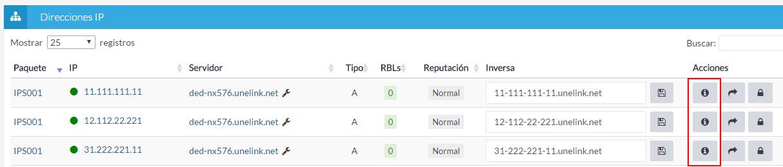 Listado direcciones IP