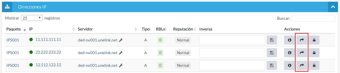 Listado de direcciones IP