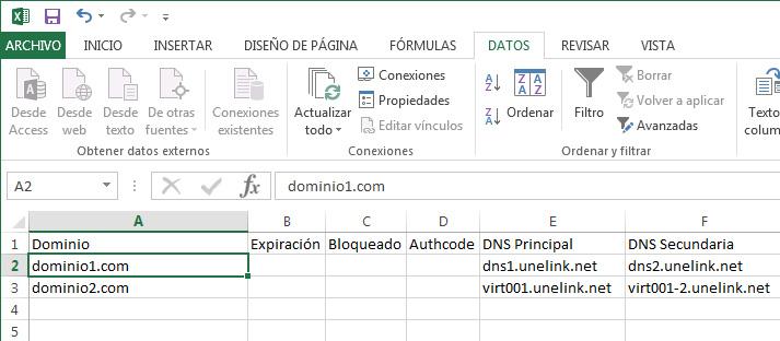 Archivo CSV importado a Excel