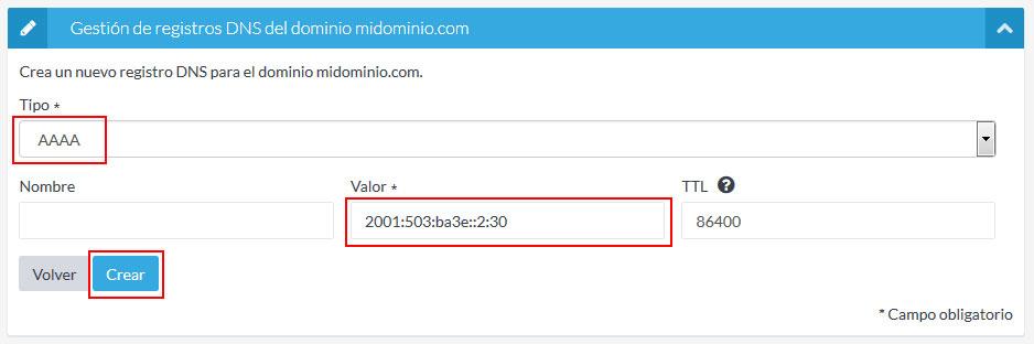 Crear registro DNS
