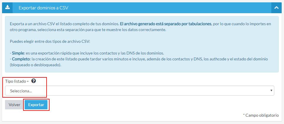 Exportar dominios