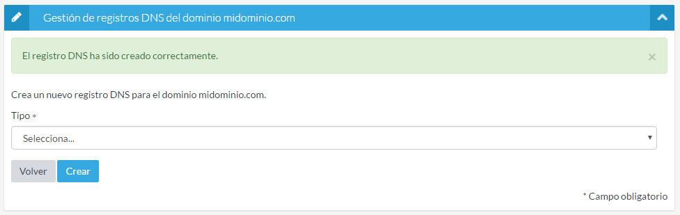 Registro DNS creado correctamente