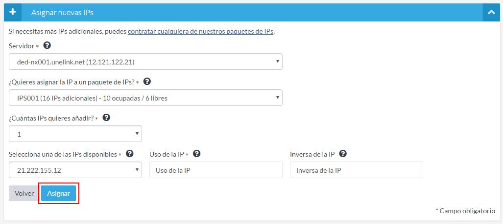 Asignar IP