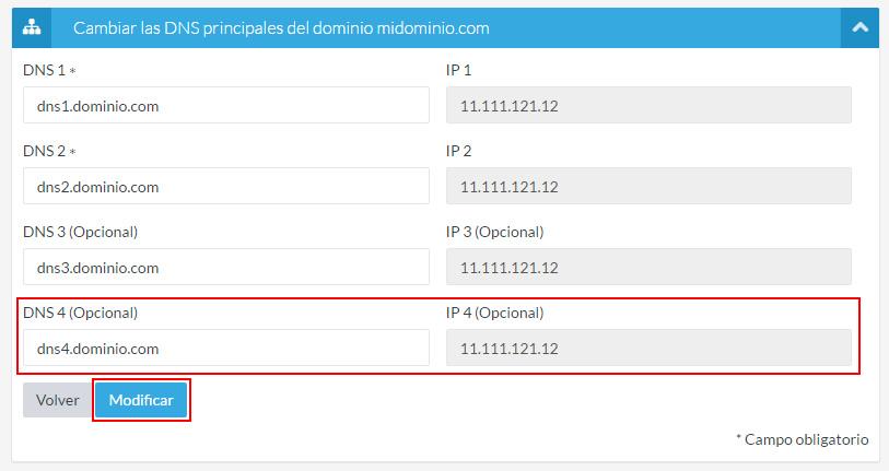Modificar el cuarto DNS