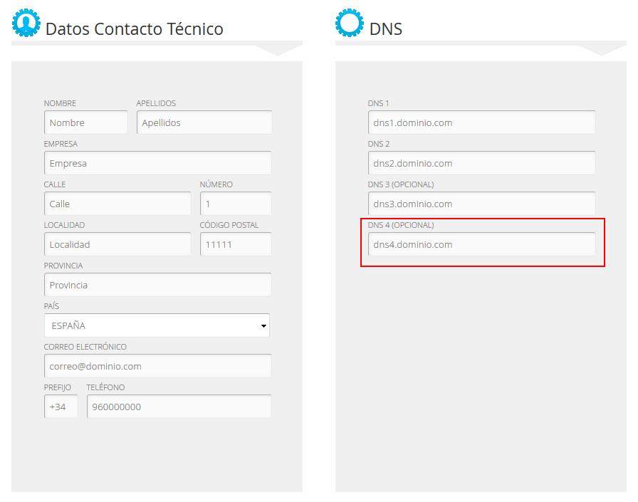 Cuarto DNS en el registro y traslado