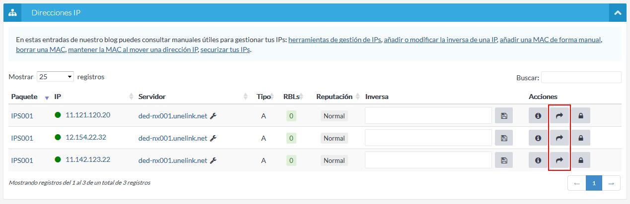 Mover IP desde listado
