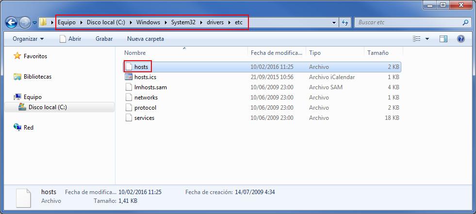 Ruta archivos hosts