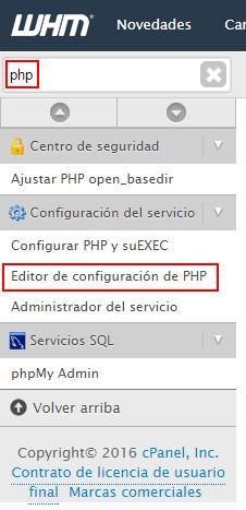 Editor de configuración PHP
