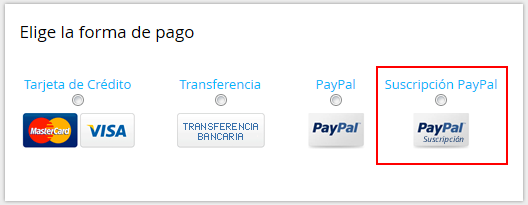 Contratación con suscripción PayPal