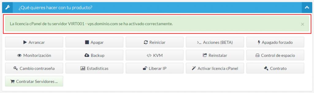 Licencia cPanel activada