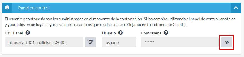 """Sección """"Panel de control"""""""