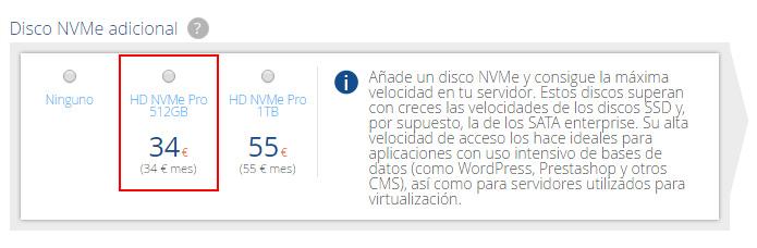 Contratar discos NVMe