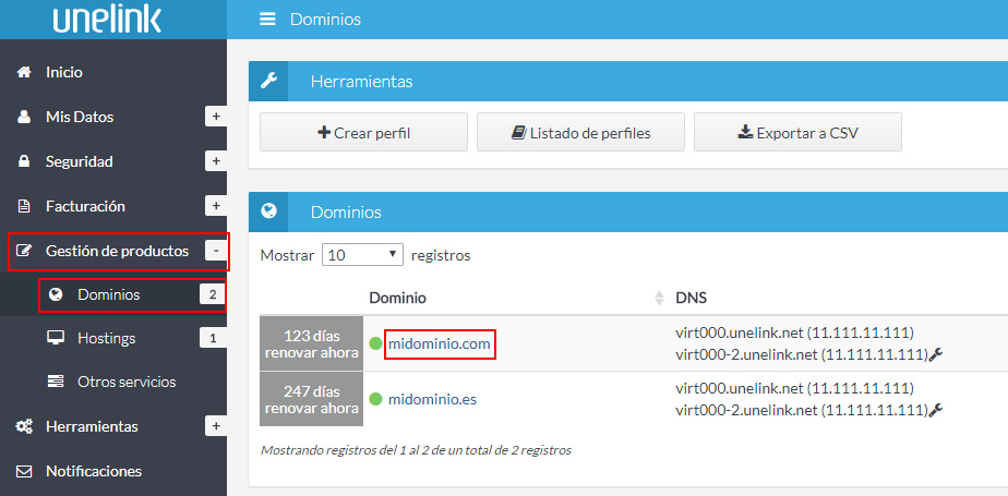 Listado dominios