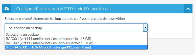 Selección del servidor Storage