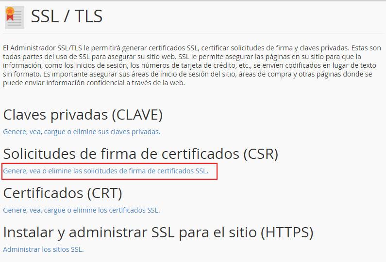 Solicitud firma de certificados SSL