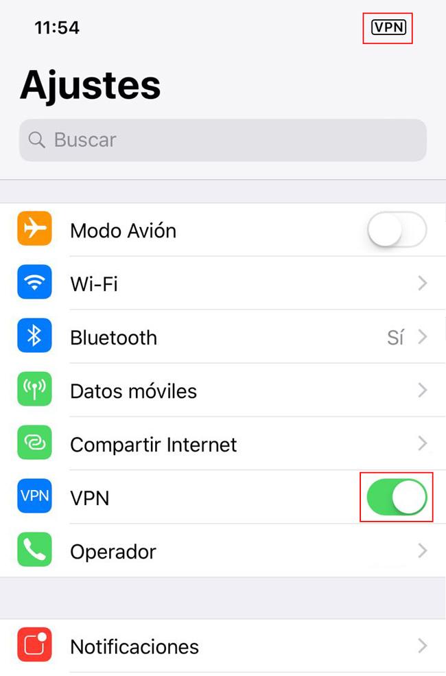 Activar VPN
