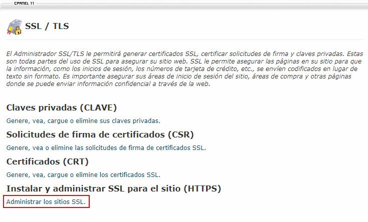Administrar los sitios SSL