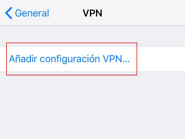 Añadir configuración VPN