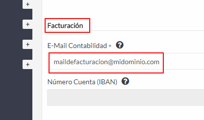 Mail de facturación