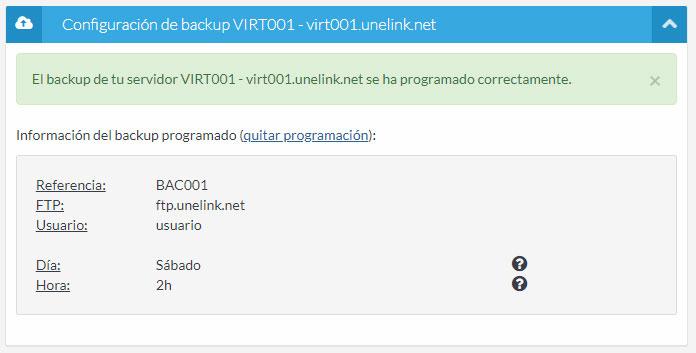 Backup configurado
