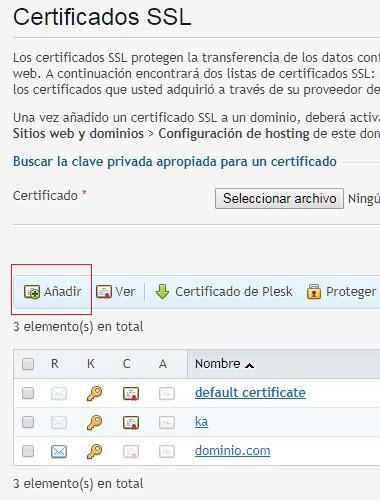 Crear certificado