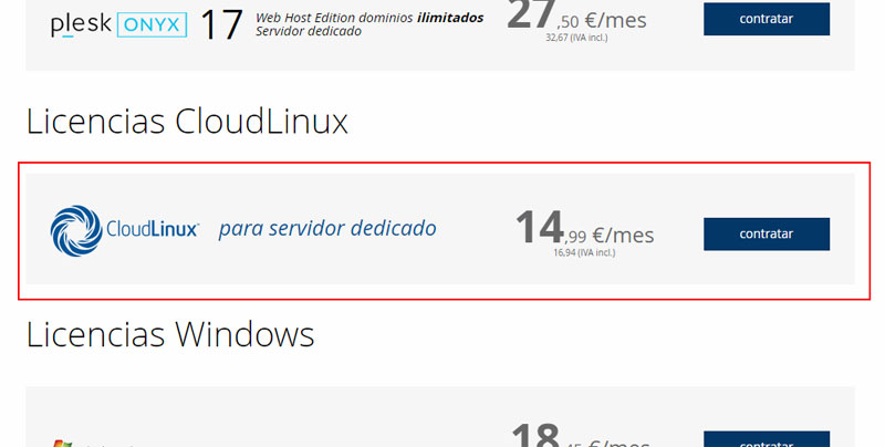 Licencias CloudLinux