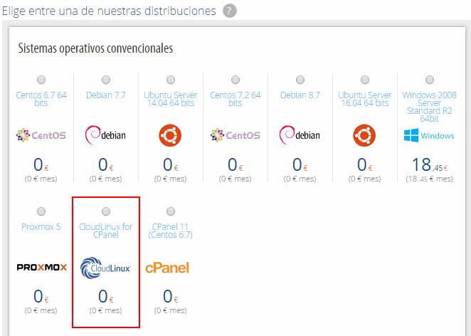 Opción CloudLinux