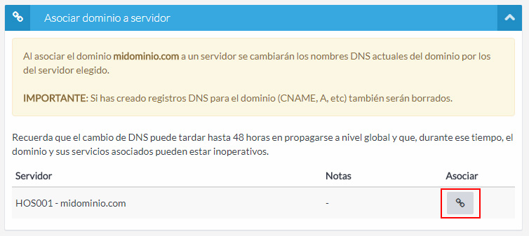 Asociar dominio a servidor
