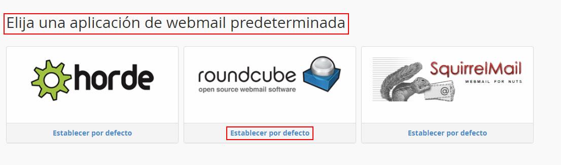 Elegir aplicación WebMail