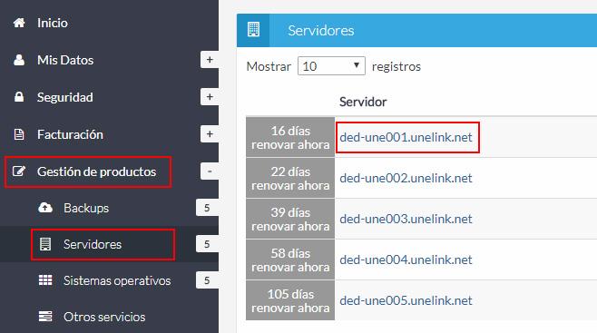 Listado de servidores dedicados