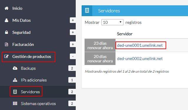 Listado servidores dedicados