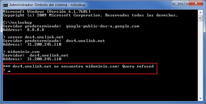 DNS incorrecto