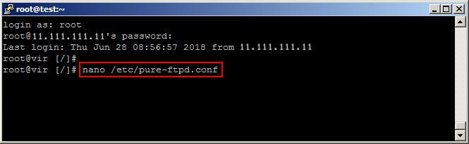 Abrir configuración FTP